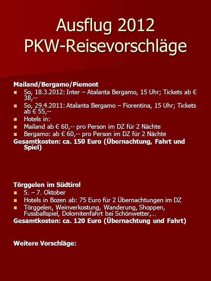 Ausflug 2012 PKW-Reisevorschläge Mailand/Bergamo/Piemont So, 18.3.2012: Inter – Atalanta Bergamo, 15 Uhr; Tickets ab 38,-- So, 18.3.2012: Inter – Atal