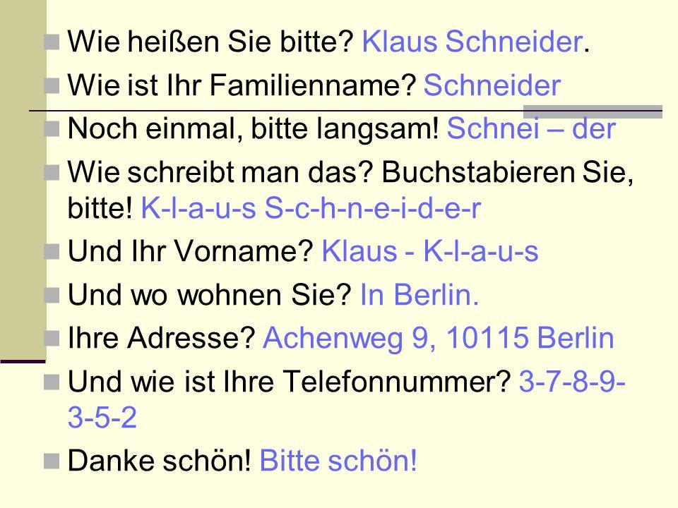 Wie heißen Sie bitte.Klaus Schneider. Wie ist Ihr Familienname.