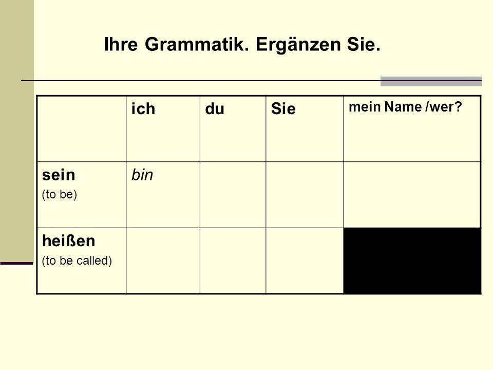 ichduSie mein Name /wer? sein (to be) bin heißen (to be called) Ihre Grammatik. Ergänzen Sie.