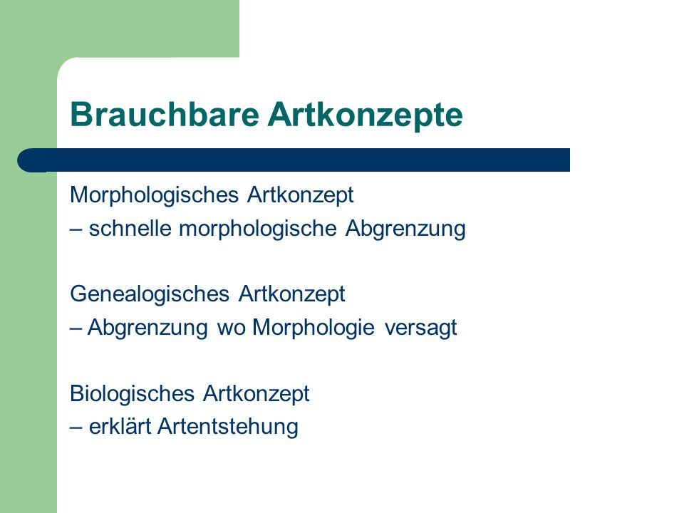 Brauchbare Artkonzepte Morphologisches Artkonzept – schnelle morphologische Abgrenzung Genealogisches Artkonzept – Abgrenzung wo Morphologie versagt Biologisches Artkonzept – erklärt Artentstehung