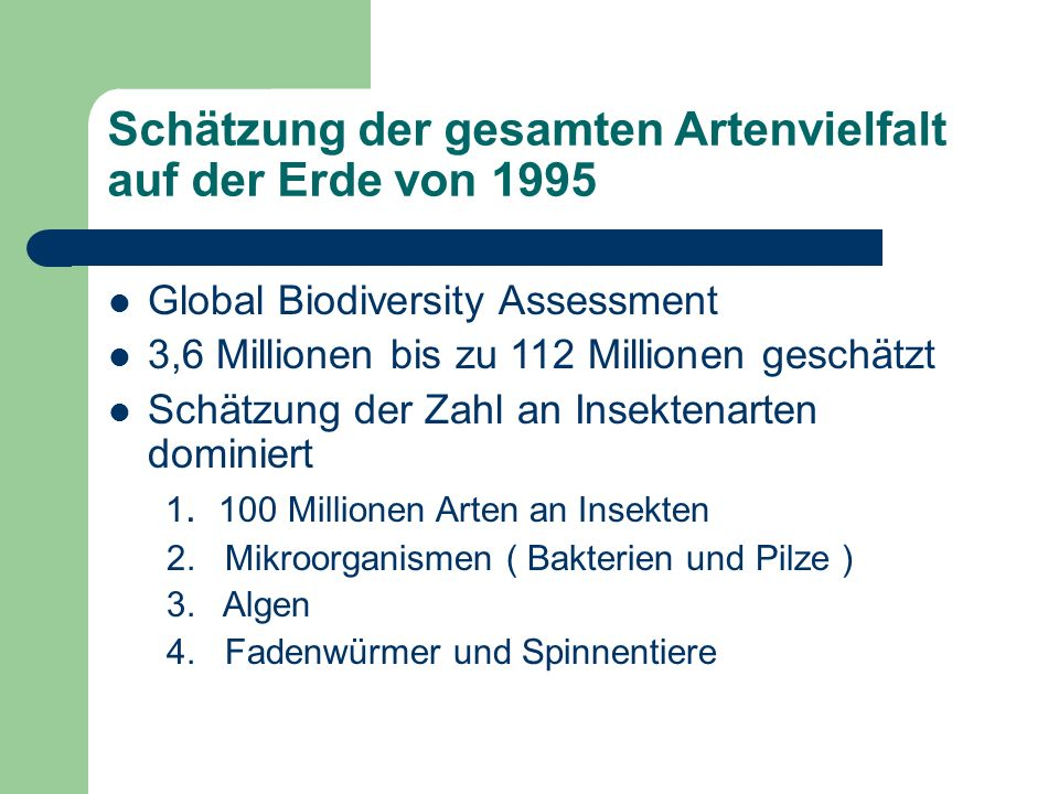 Schätzung der gesamten Artenvielfalt auf der Erde von 1995 Global Biodiversity Assessment 3,6 Millionen bis zu 112 Millionen geschätzt Schätzung der Zahl an Insektenarten dominiert 1.