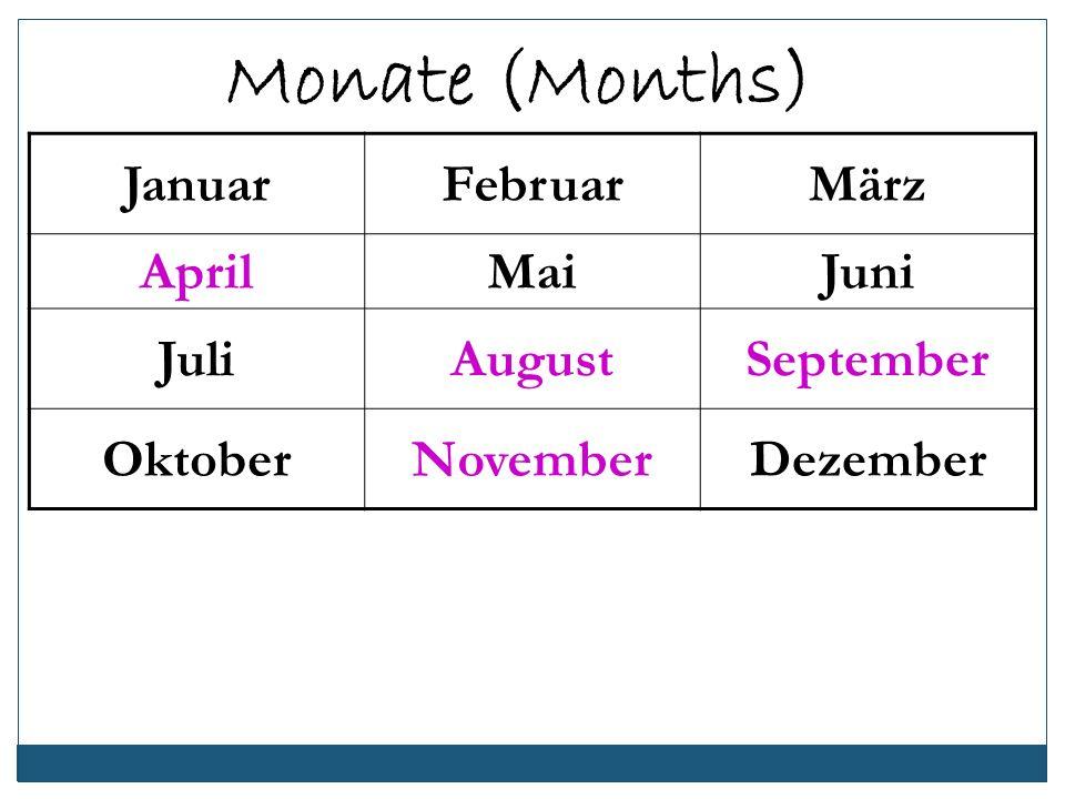 JanuarFebruarMärz AprilMaiJuni JuliAugustSeptember OktoberNovemberDezember Monate (Months)