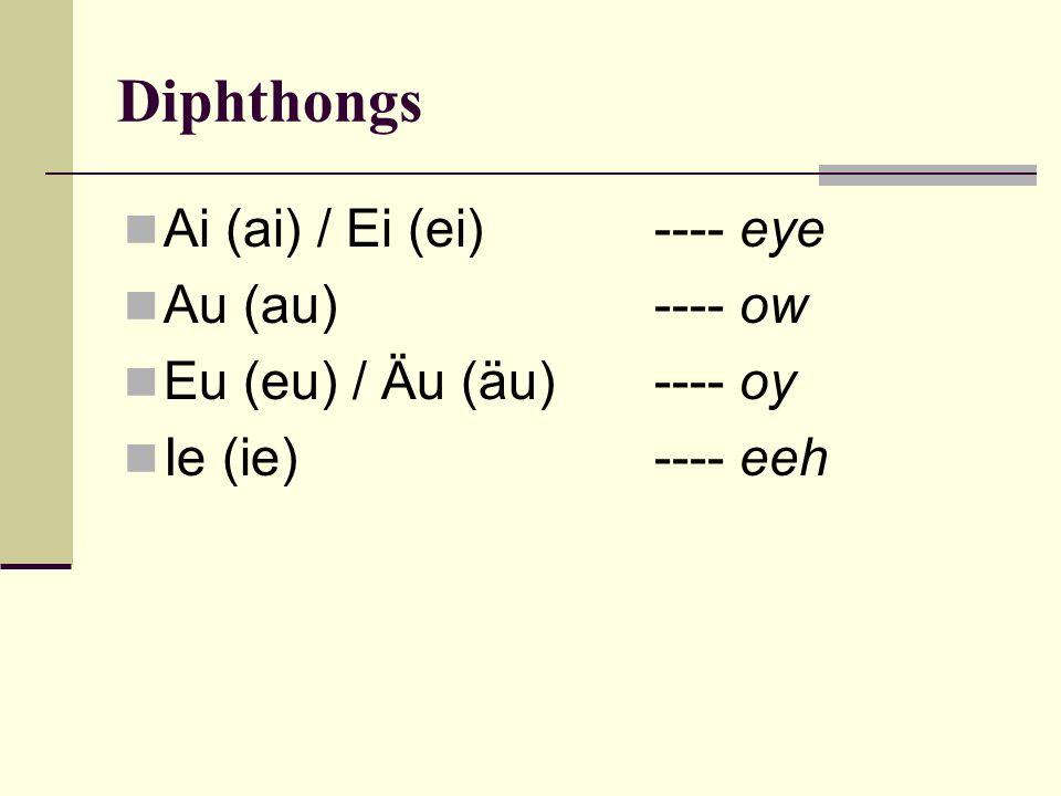 Diphthongs Ai (ai) / Ei (ei) ---- eye Au (au) ---- ow Eu (eu) / Äu (äu)---- oy Ie (ie) ---- eeh