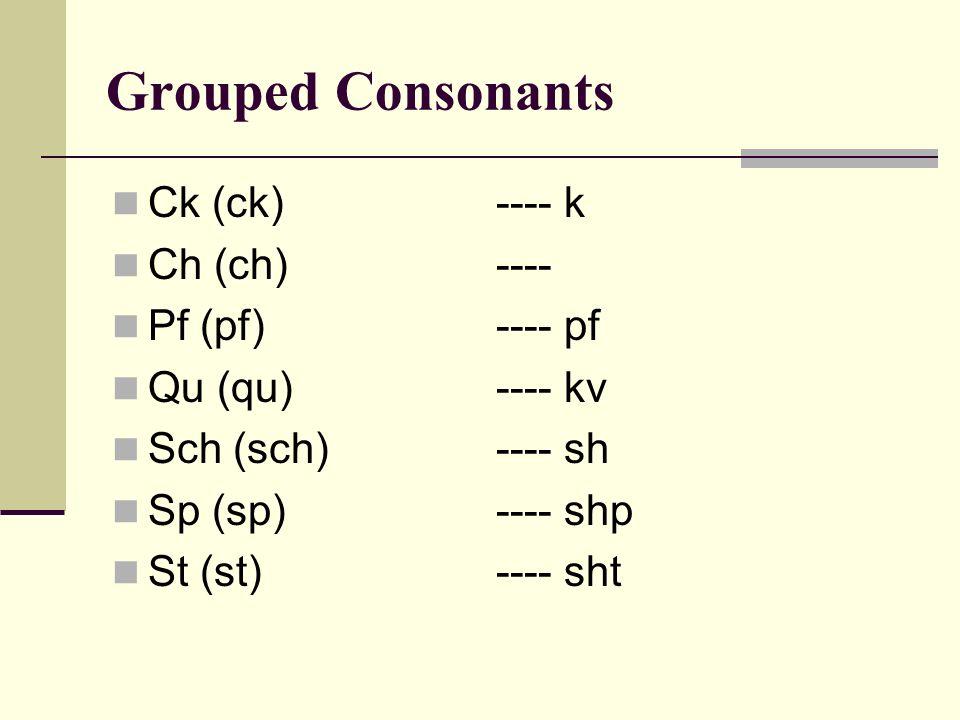 Grouped Consonants Ck (ck) ---- k Ch (ch)---- Pf (pf)---- pf Qu (qu)---- kv Sch (sch)---- sh Sp (sp)---- shp St (st)---- sht