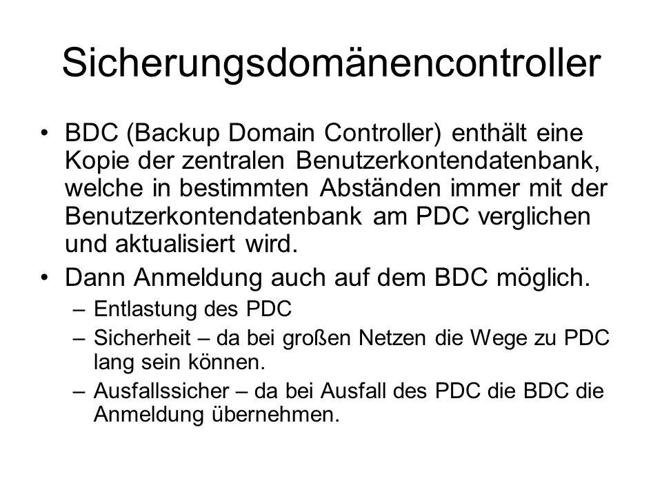 Sicherungsdomänencontroller BDC (Backup Domain Controller) enthält eine Kopie der zentralen Benutzerkontendatenbank, welche in bestimmten Abständen im