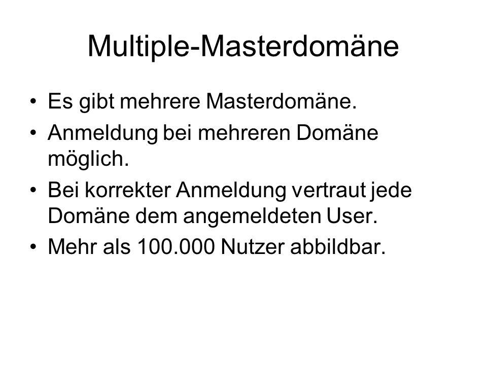 Multiple-Masterdomäne Es gibt mehrere Masterdomäne. Anmeldung bei mehreren Domäne möglich. Bei korrekter Anmeldung vertraut jede Domäne dem angemeldet