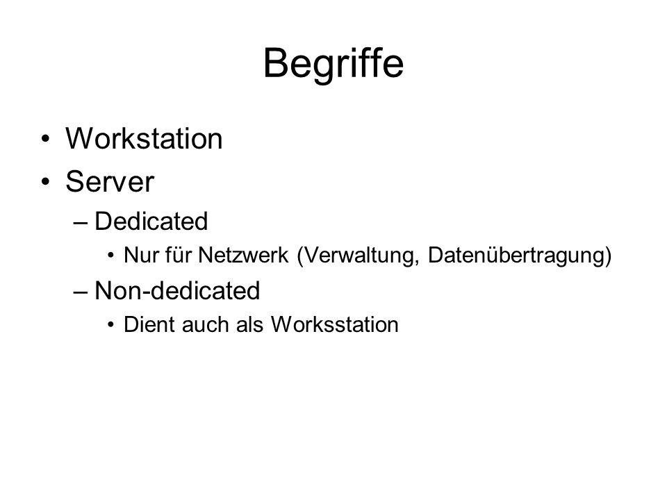 Begriffe Workstation Server –Dedicated Nur für Netzwerk (Verwaltung, Datenübertragung) –Non-dedicated Dient auch als Worksstation