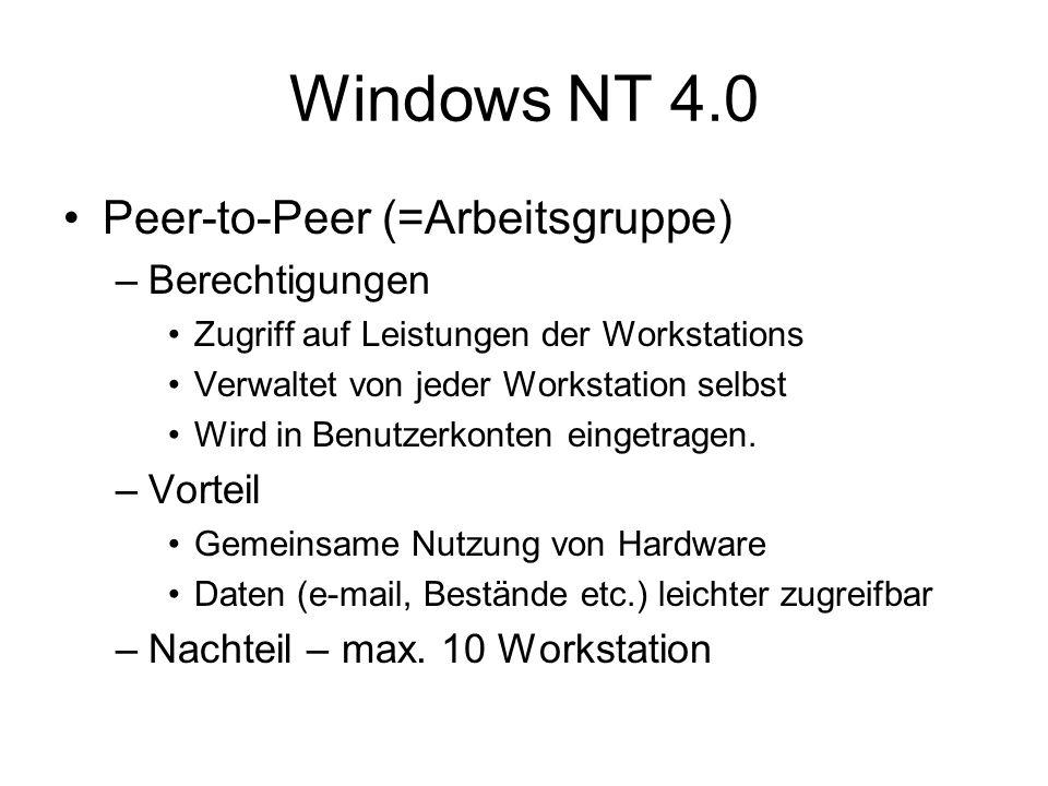 Windows NT 4.0 Peer-to-Peer (=Arbeitsgruppe) –Berechtigungen Zugriff auf Leistungen der Workstations Verwaltet von jeder Workstation selbst Wird in Be