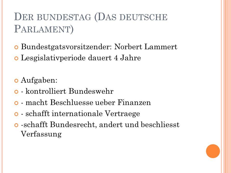 D ER BUNDESTAG (D AS DEUTSCHE P ARLAMENT ) Bundestgatsvorsitzender: Norbert Lammert Lesgislativperiode dauert 4 Jahre Aufgaben: - kontrolliert Bundesw