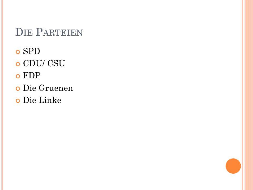 D IE P ARTEIEN SPD CDU/ CSU FDP Die Gruenen Die Linke