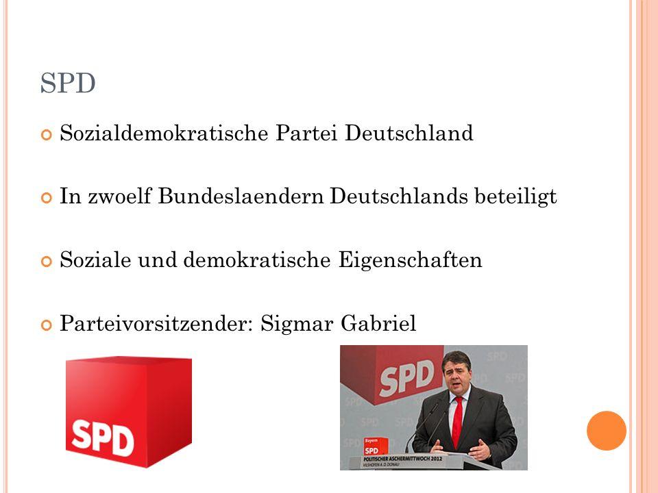 SPD Sozialdemokratische Partei Deutschland In zwoelf Bundeslaendern Deutschlands beteiligt Soziale und demokratische Eigenschaften Parteivorsitzender: