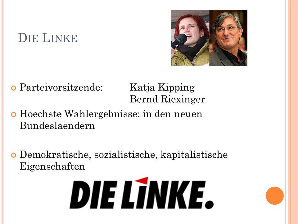 D IE L INKE Parteivorsitzende:Katja Kipping Bernd Riexinger Hoechste Wahlergebnisse: in den neuen Bundeslaendern Demokratische, sozialistische, kapita