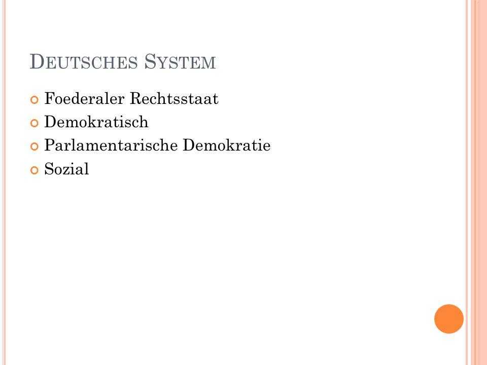 D EUTSCHES S YSTEM Foederaler Rechtsstaat Demokratisch Parlamentarische Demokratie Sozial