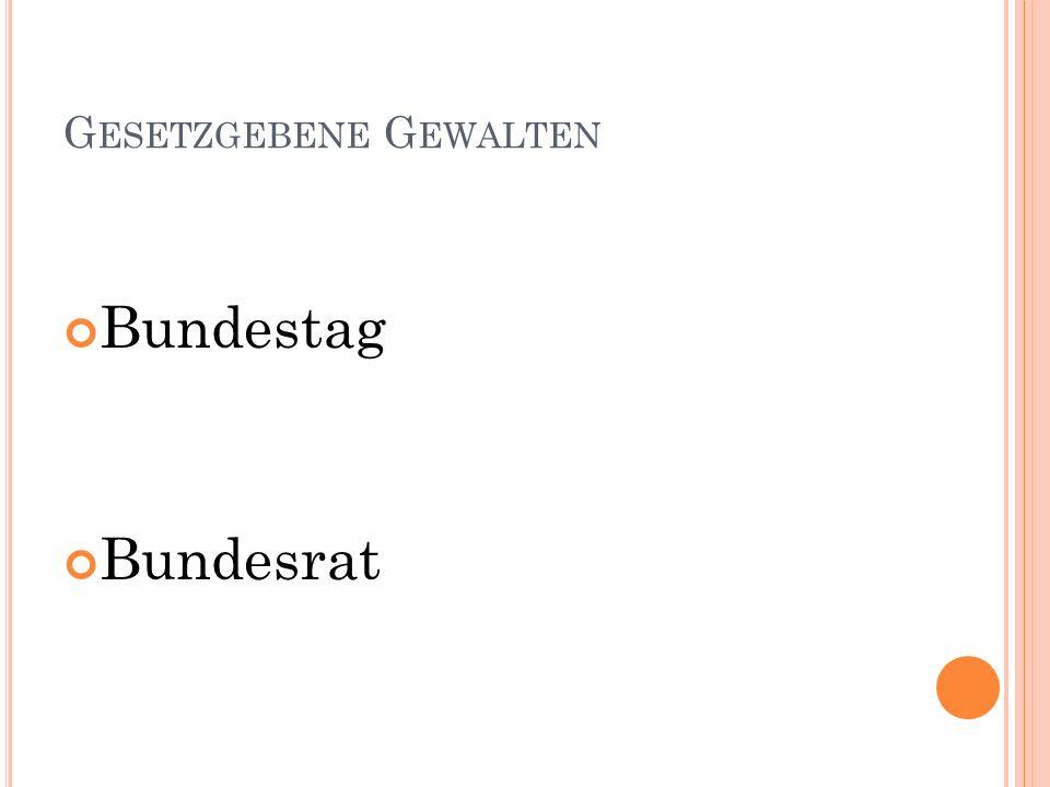G ESETZGEBENE G EWALTEN Bundestag Bundesrat