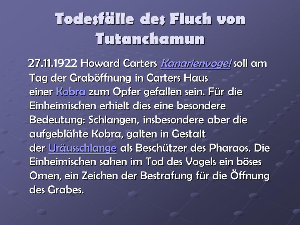 Todesfälle des Fluch von Tutanchamun 27.11.