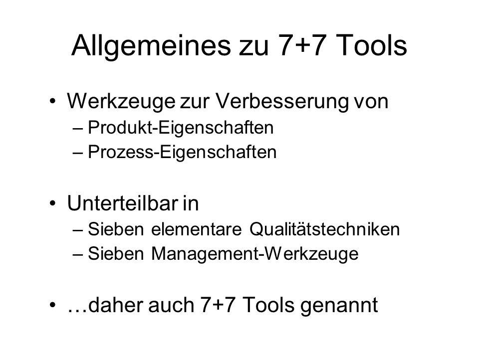 Allgemeines zu 7+7 Tools Werkzeuge zur Verbesserung von –Produkt-Eigenschaften –Prozess-Eigenschaften Unterteilbar in –Sieben elementare Qualitätstech