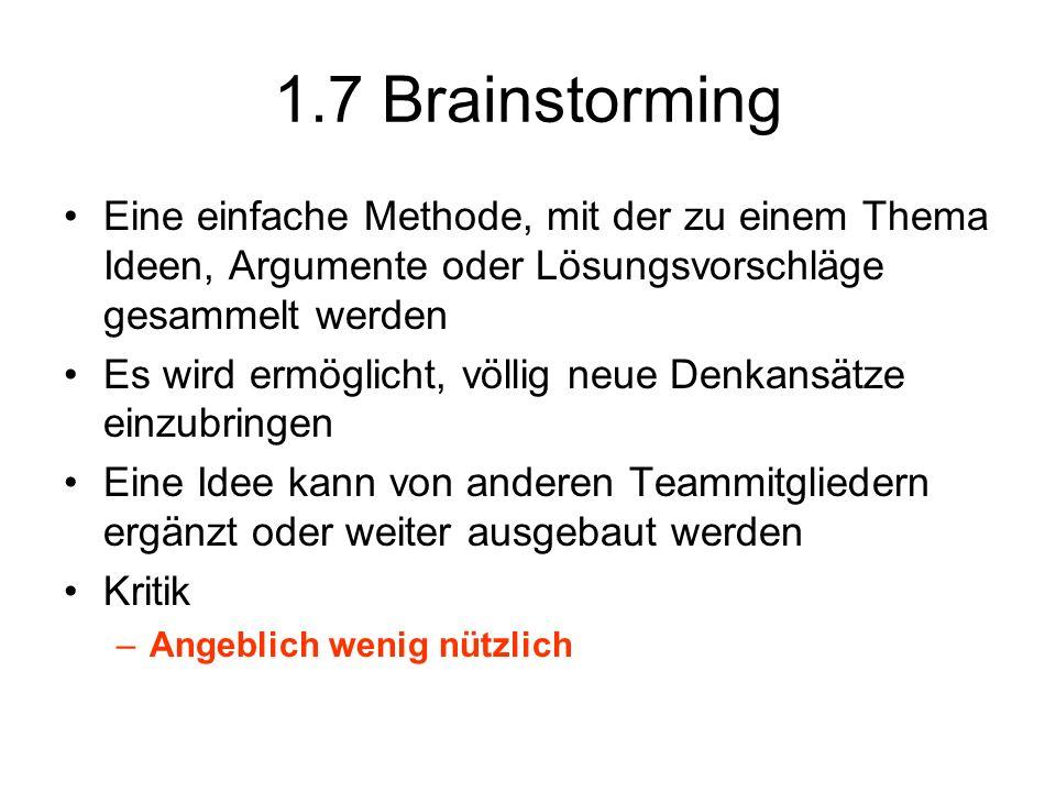 1.7 Brainstorming Eine einfache Methode, mit der zu einem Thema Ideen, Argumente oder Lösungsvorschläge gesammelt werden Es wird ermöglicht, völlig ne