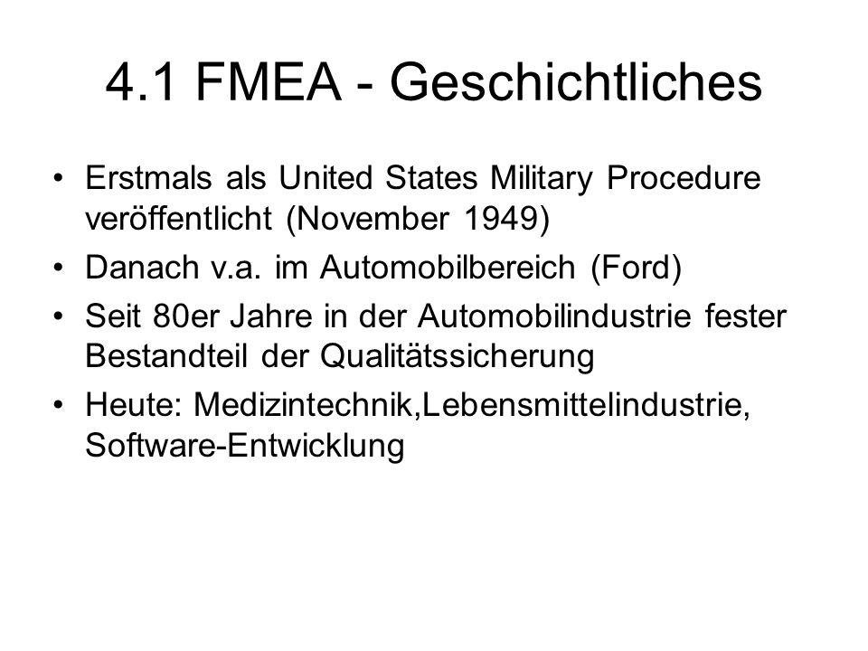 4.1 FMEA - Geschichtliches Erstmals als United States Military Procedure veröffentlicht (November 1949) Danach v.a. im Automobilbereich (Ford) Seit 80