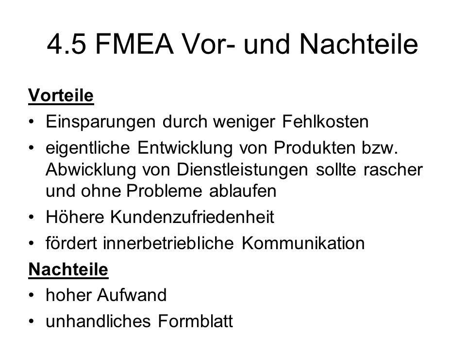 4.5 FMEA Vor- und Nachteile Vorteile Einsparungen durch weniger Fehlkosten eigentliche Entwicklung von Produkten bzw. Abwicklung von Dienstleistungen