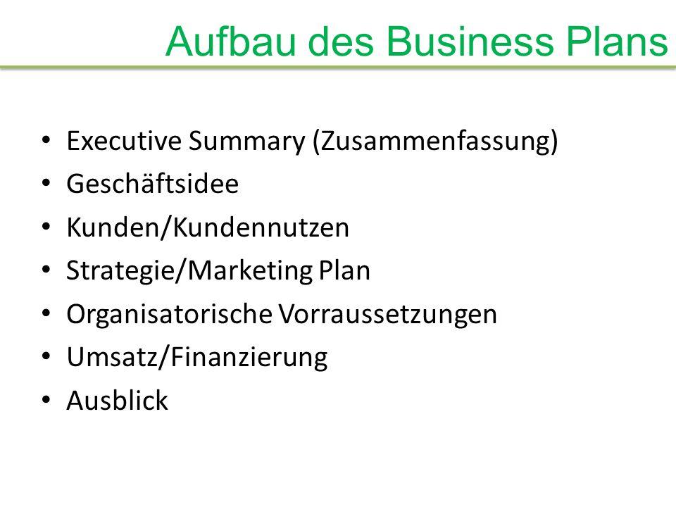Aufbau des Business Plans Executive Summary (Zusammenfassung) Geschäftsidee Kunden/Kundennutzen Strategie/Marketing Plan Organisatorische Vorraussetzu