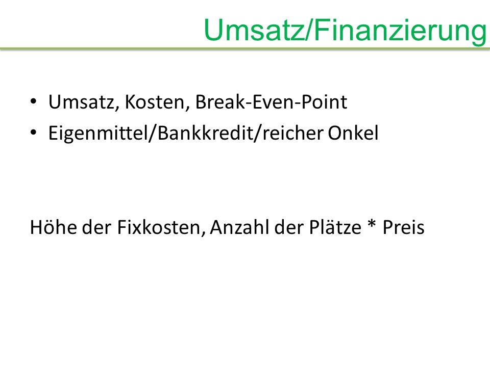 Umsatz/Finanzierung Umsatz, Kosten, Break-Even-Point Eigenmittel/Bankkredit/reicher Onkel Höhe der Fixkosten, Anzahl der Plätze * Preis