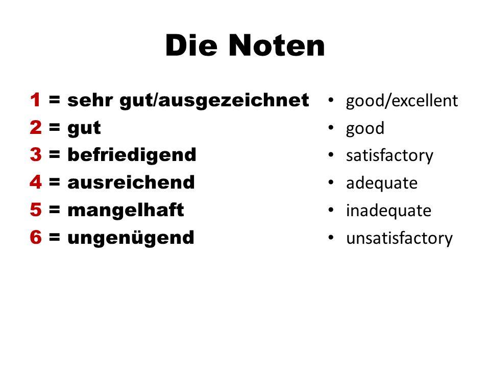 Die Noten 1 = sehr gut/ausgezeichnet 2 = gut 3 = befriedigend 4 = ausreichend 5 = mangelhaft 6 = ungenügend good/excellent good satisfactory adequate