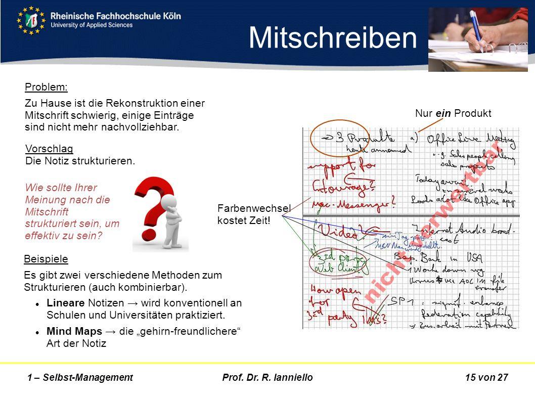 Prof. Dr. R. Ianniello15 von 271 – Selbst-Management Problem: Zu Hause ist die Rekonstruktion einer Mitschrift schwierig, einige Einträge sind nicht m