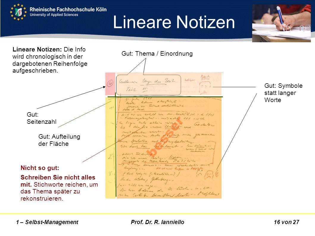 Prof. Dr. R. Ianniello16 von 271 – Selbst-Management Lineare Notizen Gut: Seitenzahl Gut: Symbole statt langer Worte Gut: Thema / Einordnung Nicht so