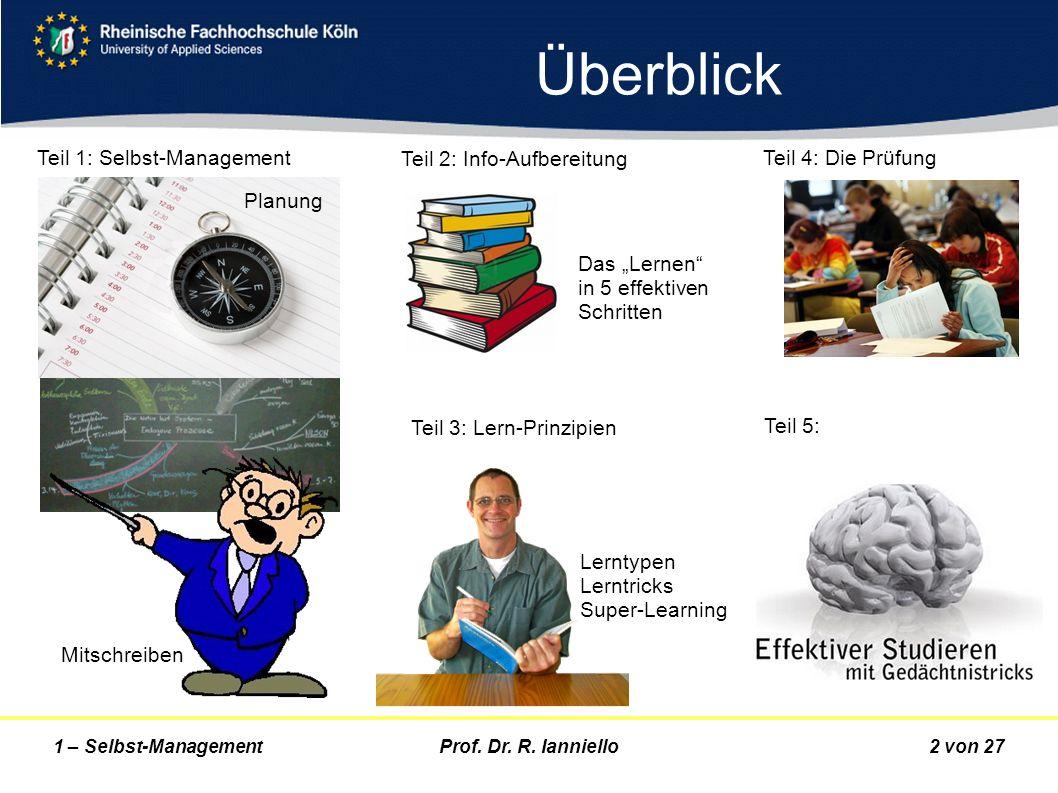 Prof. Dr. R. Ianniello2 von 271 – Selbst-Management Überblick Teil 1: Selbst-Management Mitschreiben Teil 2: Info-Aufbereitung Das Lernen in 5 effekti