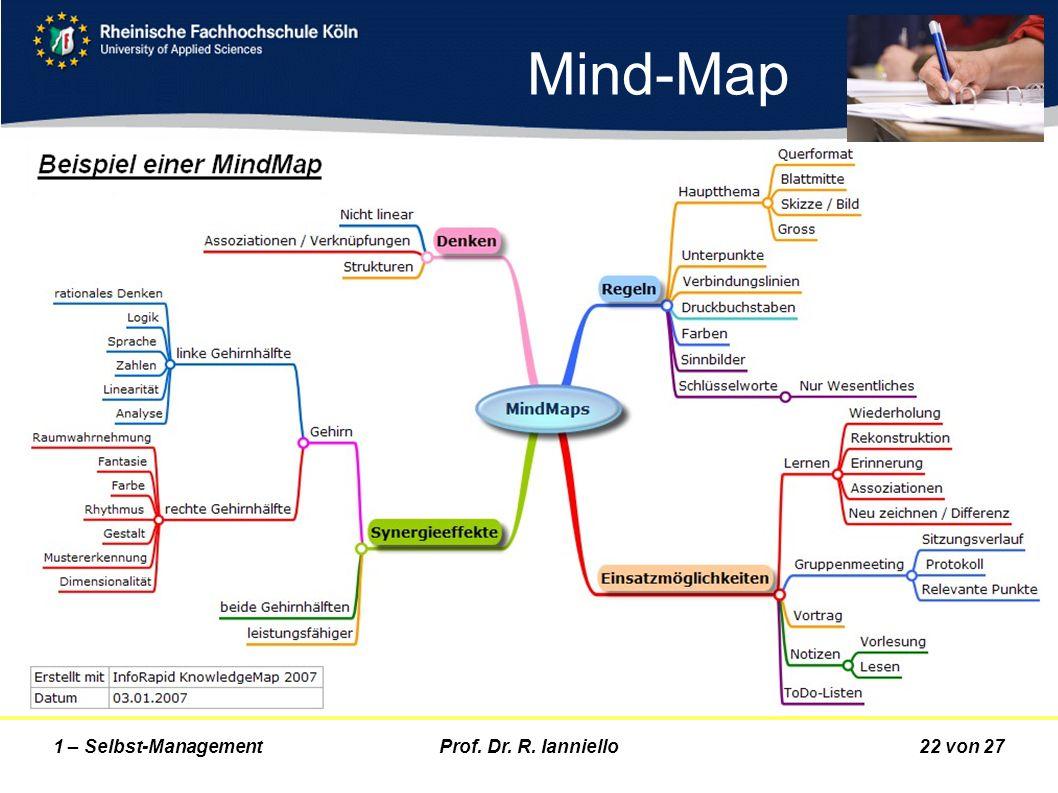Prof. Dr. R. Ianniello22 von 271 – Selbst-Management Mind-Map