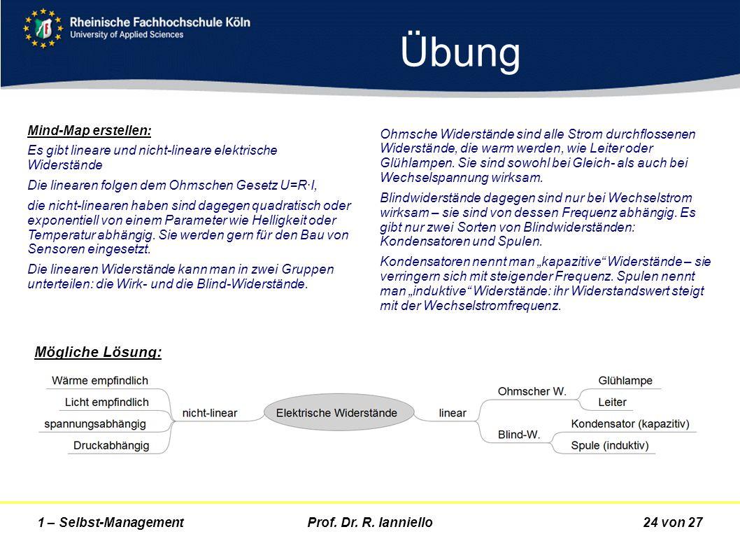 Prof. Dr. R. Ianniello24 von 271 – Selbst-Management Übung Mind-Map erstellen: Es gibt lineare und nicht-lineare elektrische Widerstände Die linearen