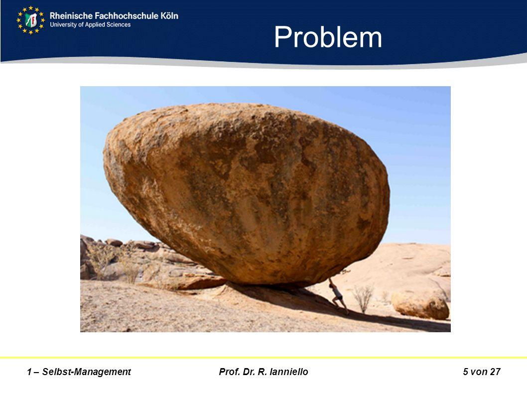 Prof. Dr. R. Ianniello5 von 271 – Selbst-Management Problem
