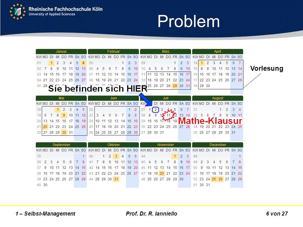 Prof. Dr. R. Ianniello6 von 271 – Selbst-Management Problem Vorlesung