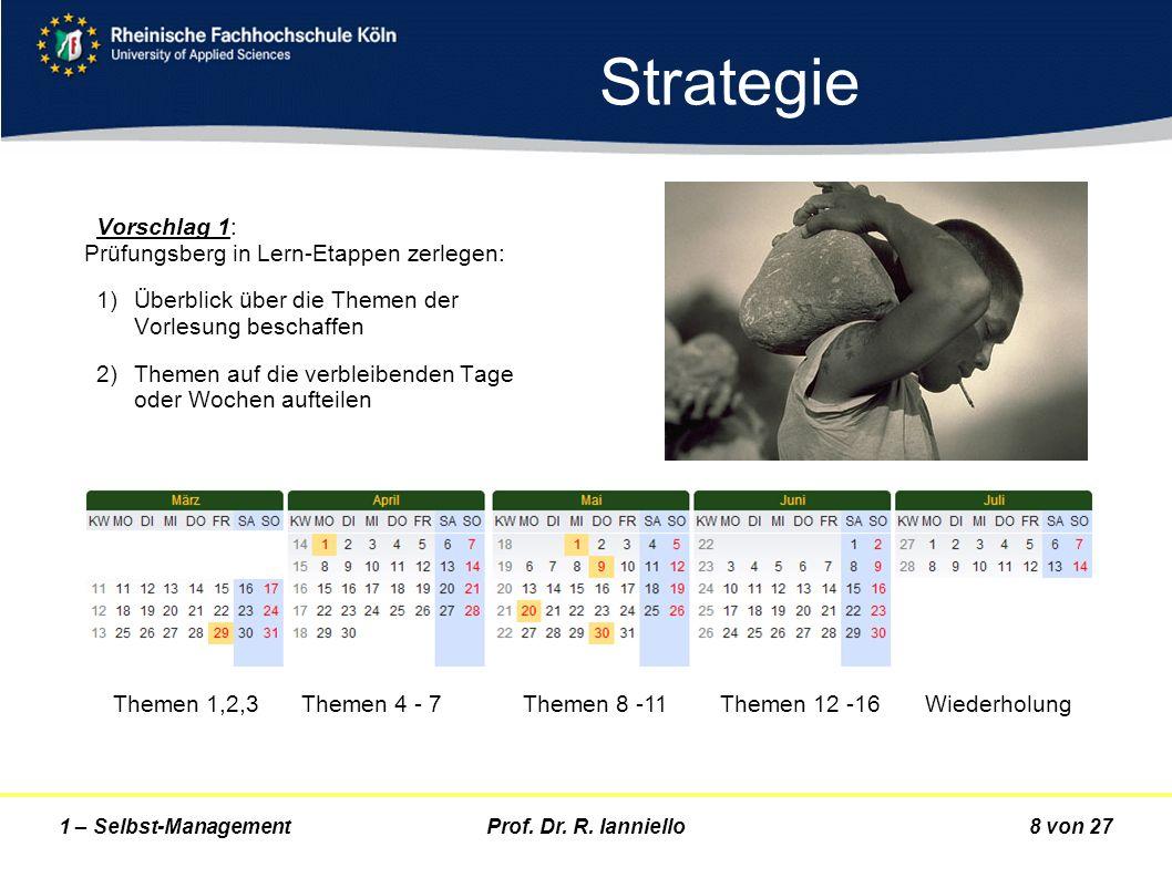 Prof. Dr. R. Ianniello8 von 271 – Selbst-Management Strategie Vorschlag 1: Prüfungsberg in Lern-Etappen zerlegen: 1)Überblick über die Themen der Vorl