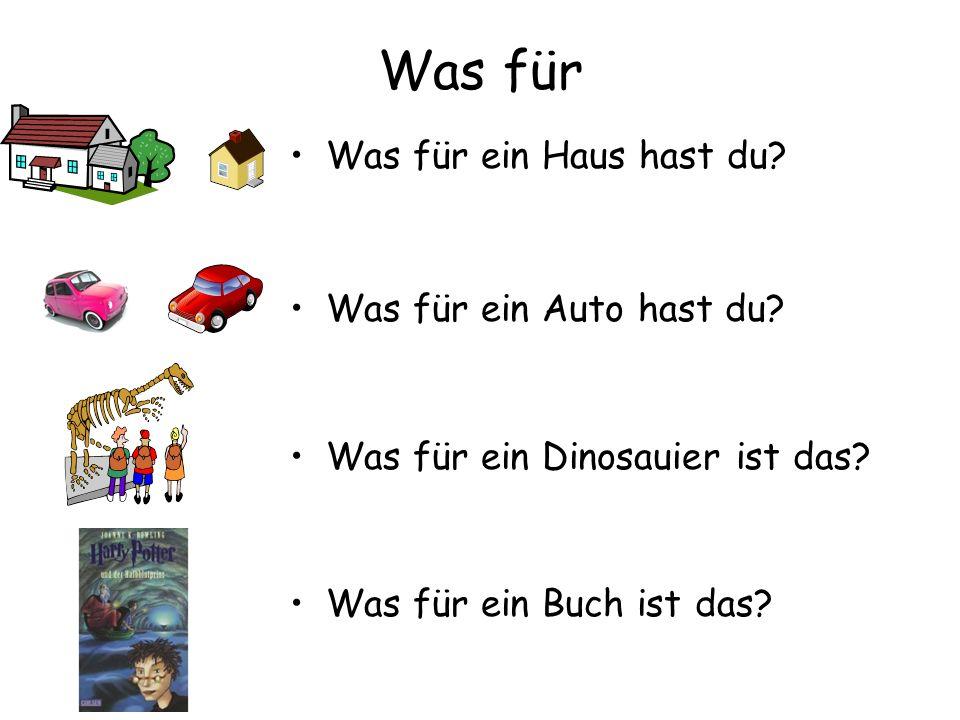 Was für Was für ein Haus hast du? Was für ein Auto hast du? Was für ein Dinosauier ist das? Was für ein Buch ist das?