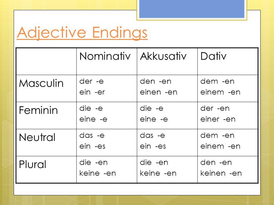 Comparative Adjective Examples AdjectiveComparative GutBesser KleinKleiner LautLauter GrossGrösser