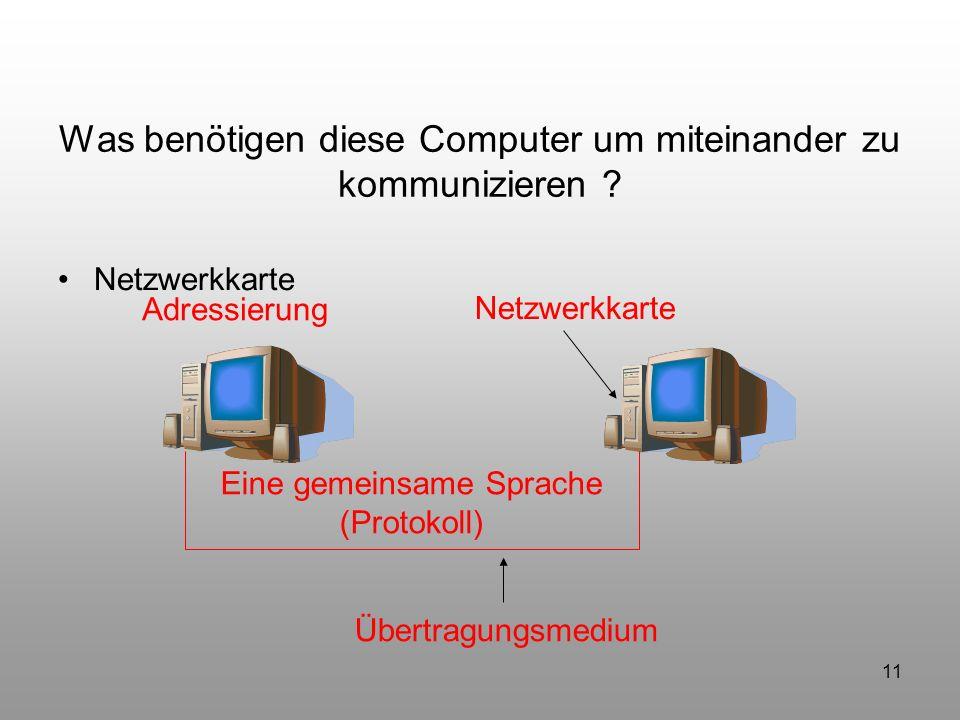 11 Was benötigen diese Computer um miteinander zu kommunizieren ? Netzwerkkarte Übertragungsmedium Eine gemeinsame Sprache (Protokoll) Adressierung