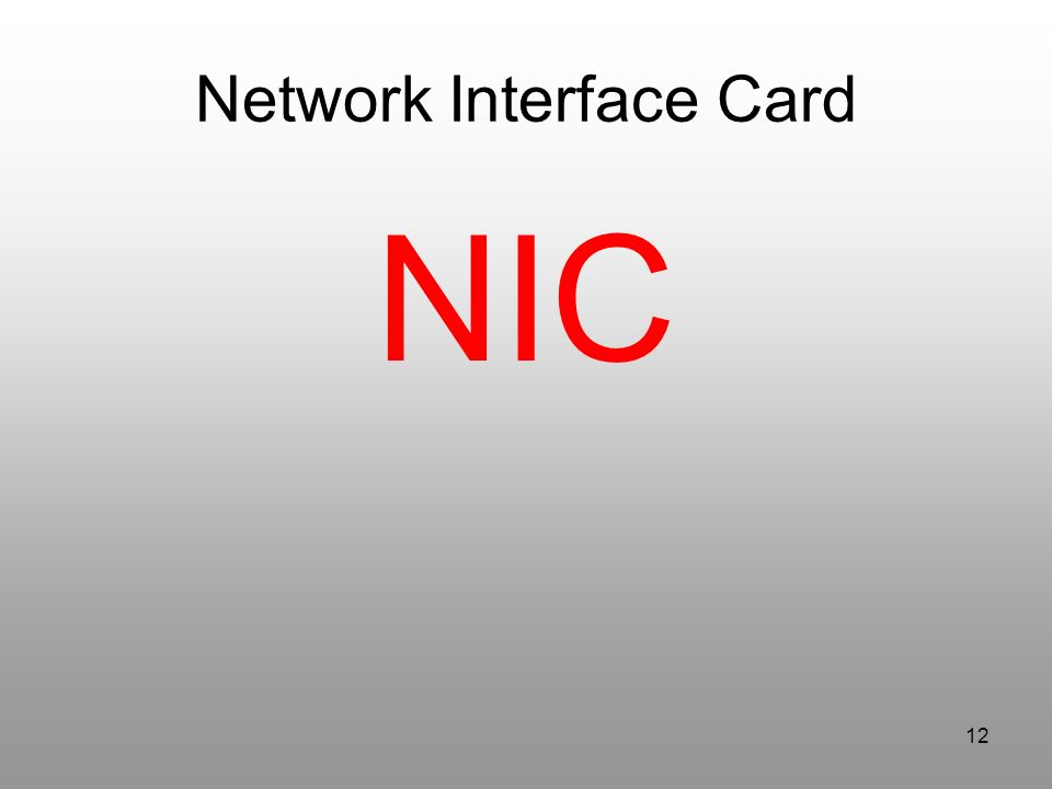 12 Network Interface Card NIC
