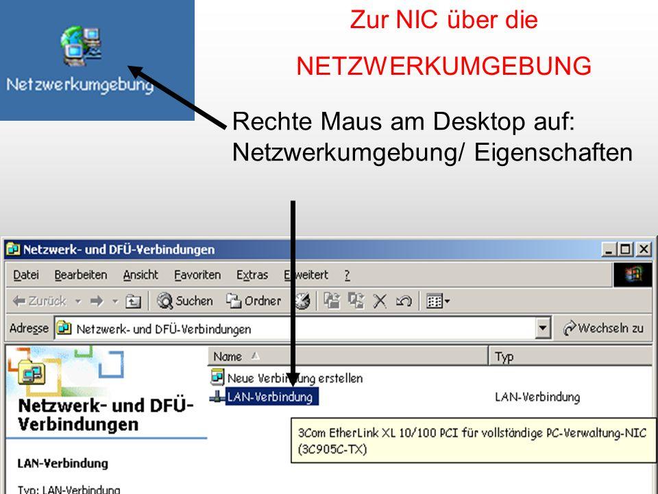 26 Rechte Maus am Desktop auf: Netzwerkumgebung/ Eigenschaften Zur NIC über die NETZWERKUMGEBUNG