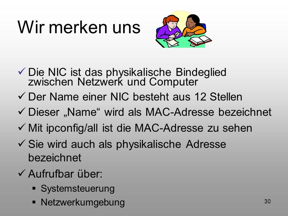 30 Wir merken uns Die NIC ist das physikalische Bindeglied zwischen Netzwerk und Computer Der Name einer NIC besteht aus 12 Stellen Dieser Name wird a