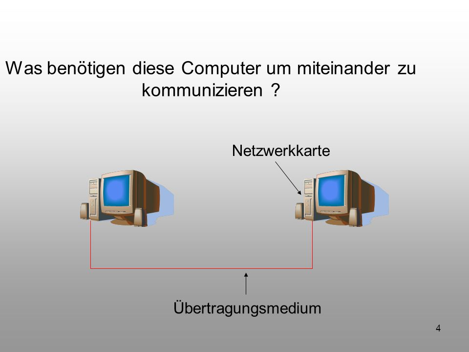 45 Was benötigen diese Computer um miteinander zu kommunizieren .