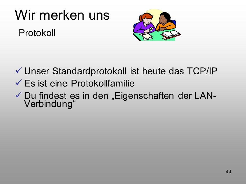 44 Wir merken uns Protokoll Unser Standardprotokoll ist heute das TCP/IP Es ist eine Protokollfamilie Du findest es in den Eigenschaften der LAN- Verb