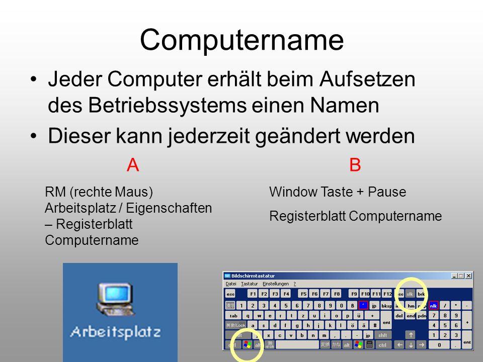 48 Computername Jeder Computer erhält beim Aufsetzen des Betriebssystems einen Namen Dieser kann jederzeit geändert werden A RM (rechte Maus) Arbeitsp