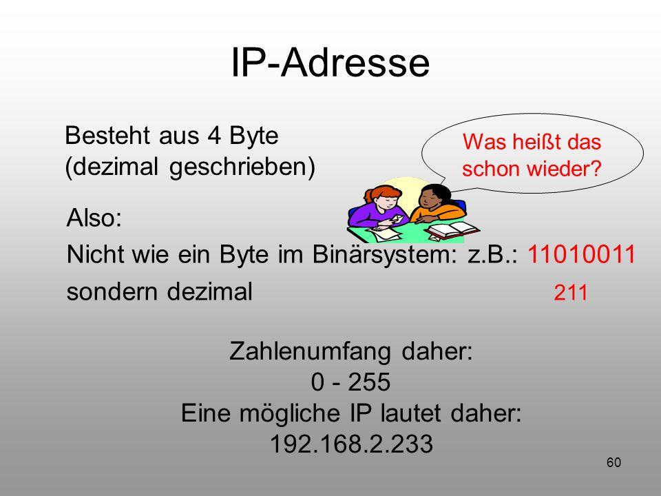 60 IP-Adresse Besteht aus 4 Byte (dezimal geschrieben) Was heißt das schon wieder? Also: Nicht wie ein Byte im Binärsystem: z.B.: 11010011 sondern dez