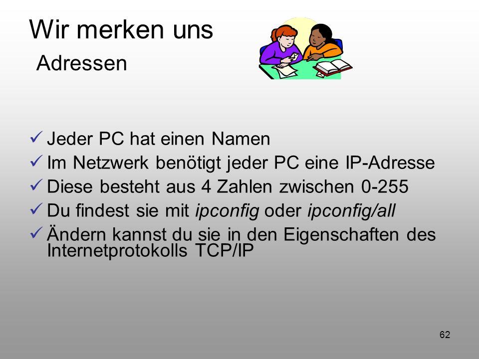 62 Wir merken uns Adressen Jeder PC hat einen Namen Im Netzwerk benötigt jeder PC eine IP-Adresse Diese besteht aus 4 Zahlen zwischen 0-255 Du findest