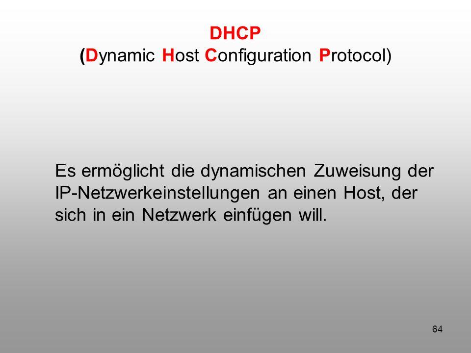 64 Es ermöglicht die dynamischen Zuweisung der IP-Netzwerkeinstellungen an einen Host, der sich in ein Netzwerk einfügen will. DHCP (Dynamic Host Conf