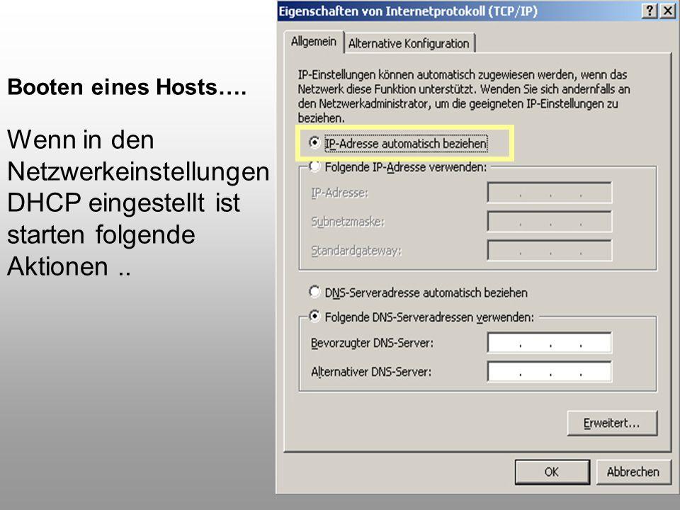 65 Booten eines Hosts…. Wenn in den Netzwerkeinstellungen DHCP eingestellt ist starten folgende Aktionen..