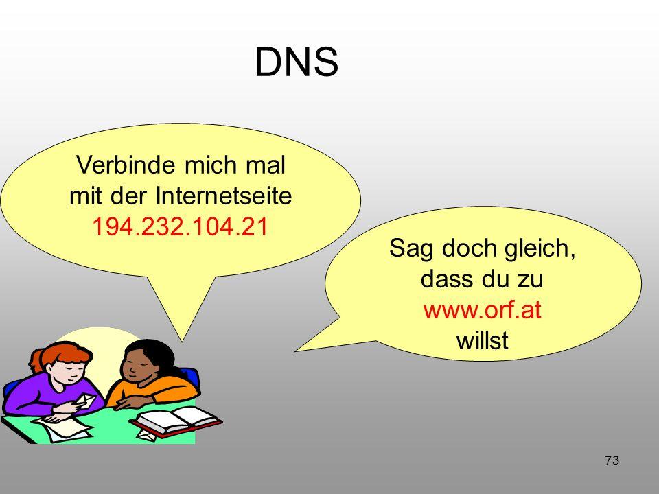 73 DNS Verbinde mich mal mit der Internetseite 194.232.104.21 Sag doch gleich, dass du zu www.orf.at willst