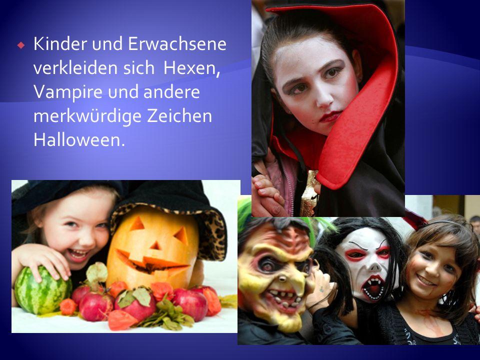 Kinder und Erwachsene verkleiden sich Hexen, Vampire und andere merkwürdige Zeichen Halloween.