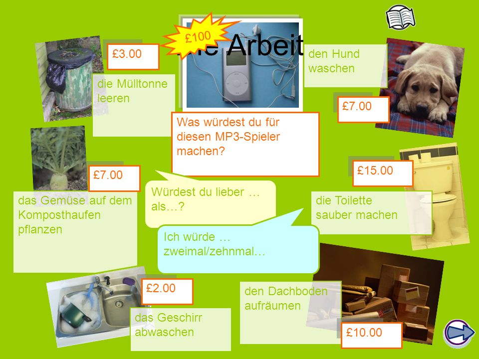 Die Arbeit die Mülltonne leeren den Hund waschen das Gemüse auf dem Komposthaufen pflanzen die Toilette sauber machen den Dachboden aufräumen £3.00 £7